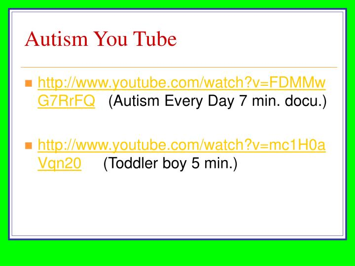 Autism You Tube