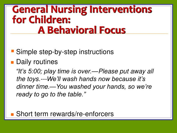 General Nursing Interventions for Children: