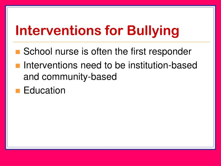 Interventions for Bullying