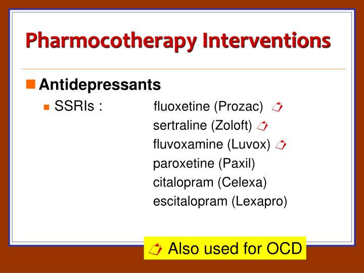 Pharmocotherapy Interventions