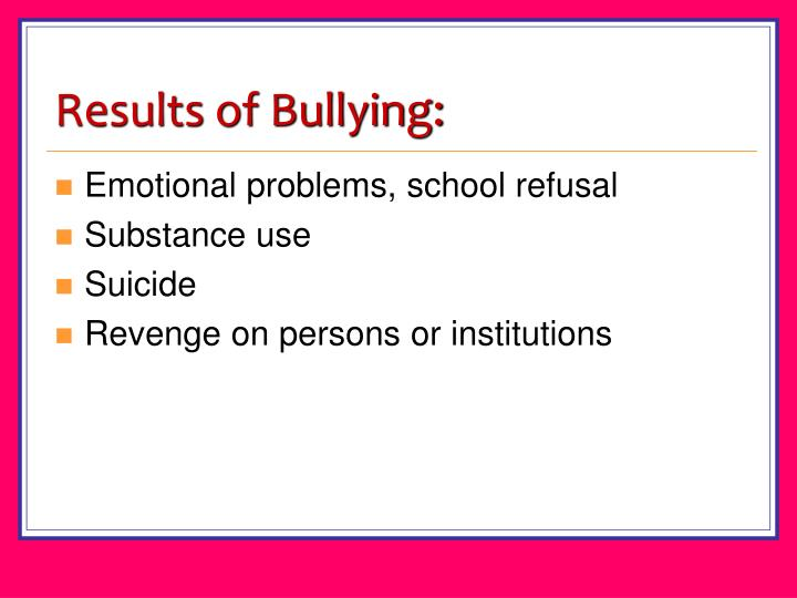 Results of Bullying: