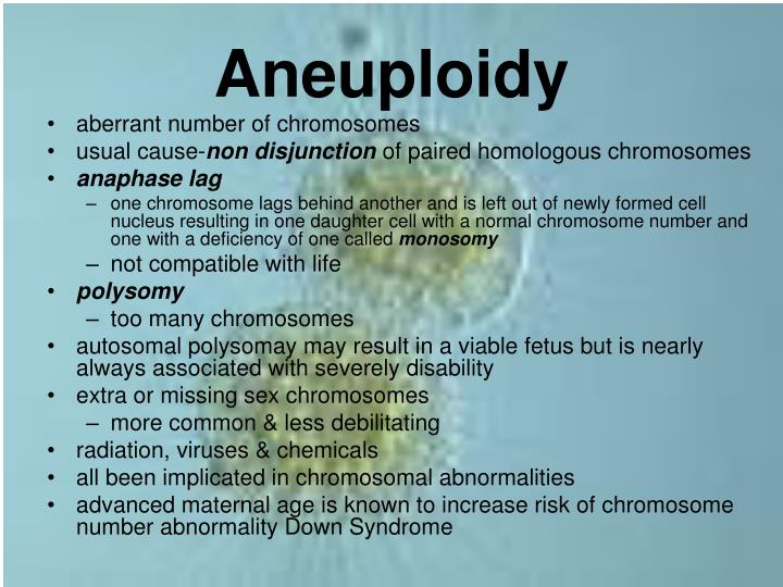aneuploidy caused by non disjunction of sex chromosomes in Naperville