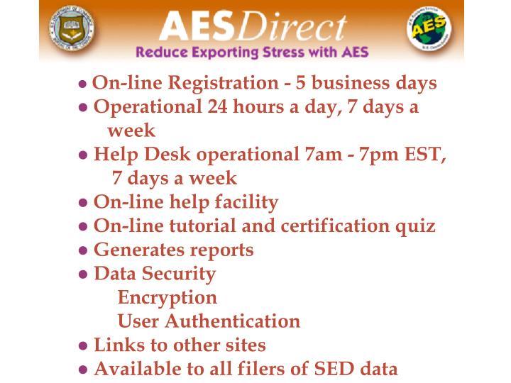 On-line Registration - 5 business days