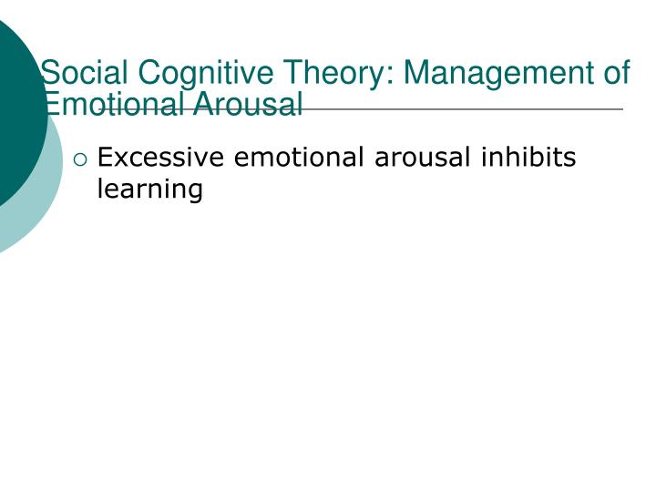 Social Cognitive Theory: Management of Emotional Arousal