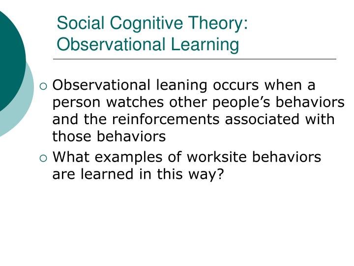 Social Cognitive Theory: Observational Learning