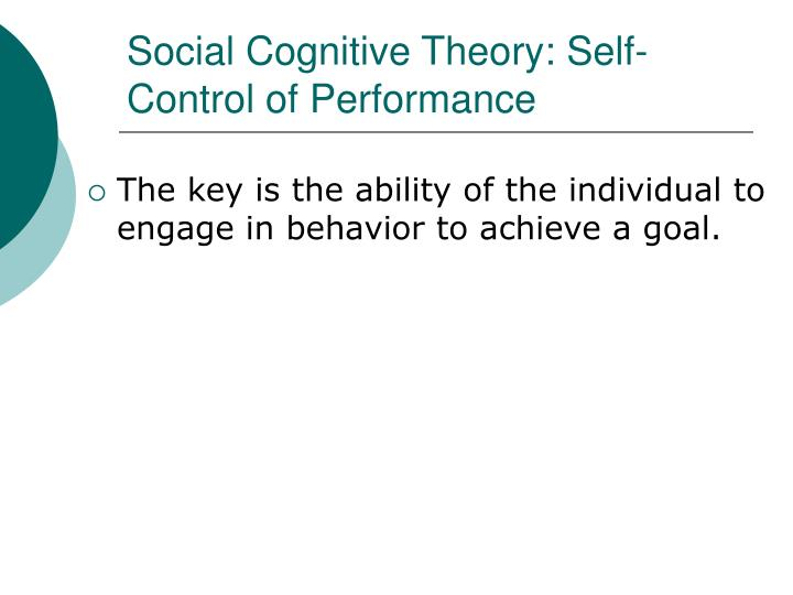 Social Cognitive Theory: Self-Control of Performance
