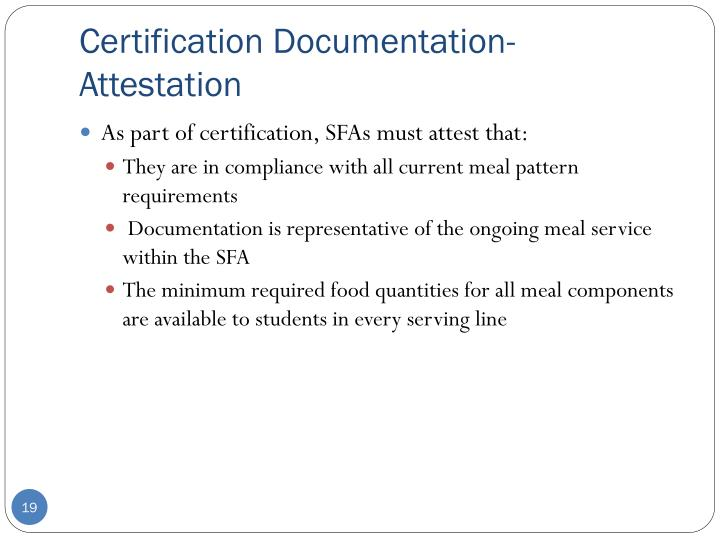 Certification Documentation- Attestation