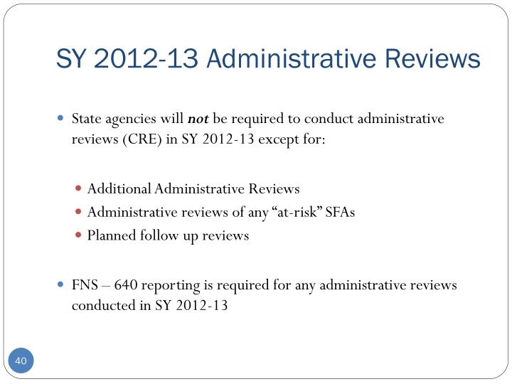 SY 2012-13 Administrative Reviews