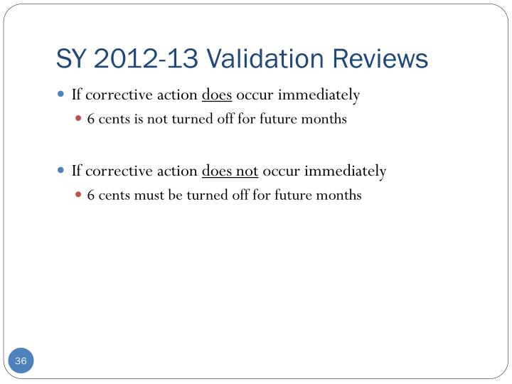 SY 2012-13 Validation Reviews