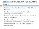 screening criteraia for islamic funds