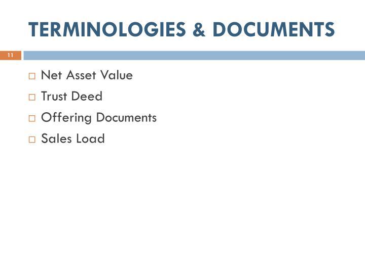 TERMINOLOGIES & DOCUMENTS