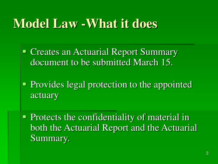 Model Law -What it does