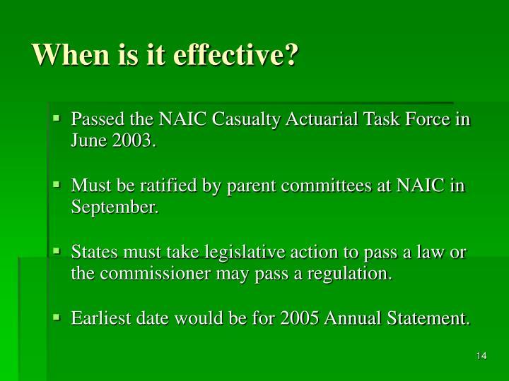When is it effective?