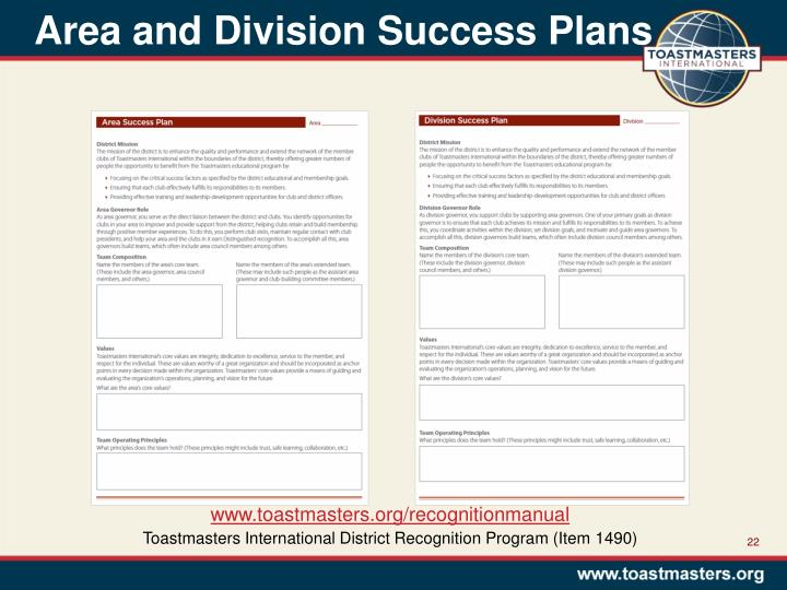 Area and Division Success Plans