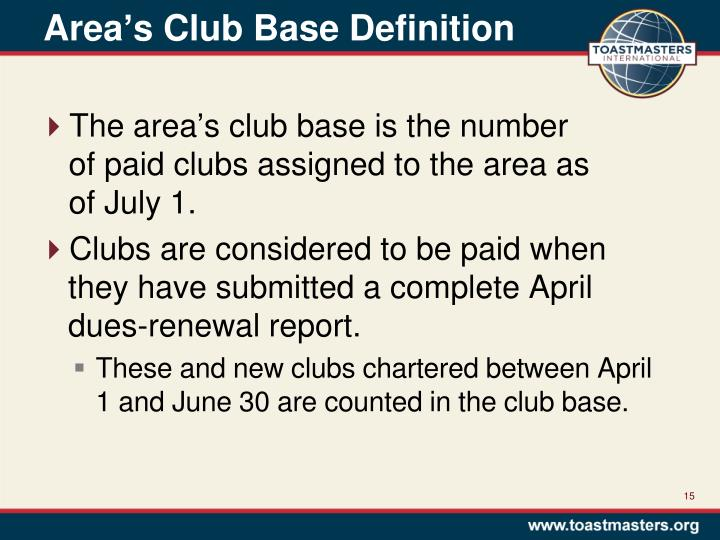 Area's Club Base Definition