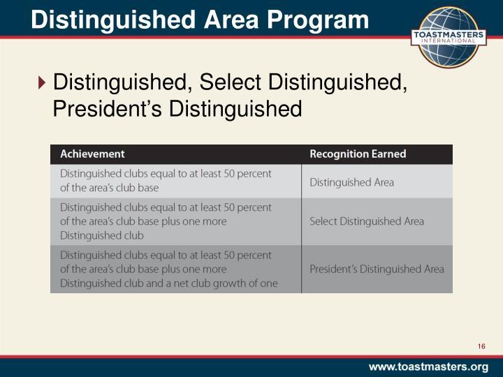 Distinguished Area Program