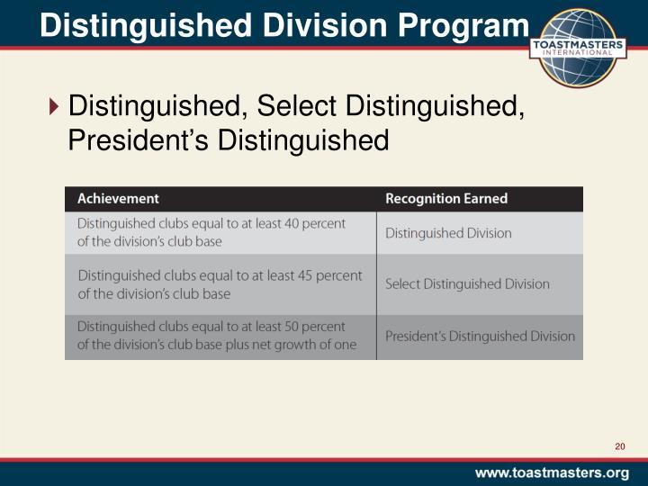 Distinguished Division Program