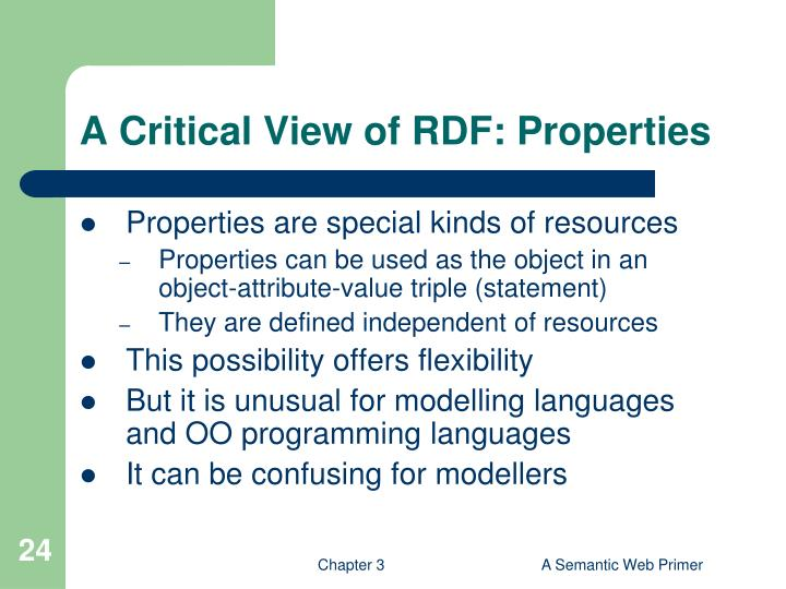 A Critical View of RDF: Properties