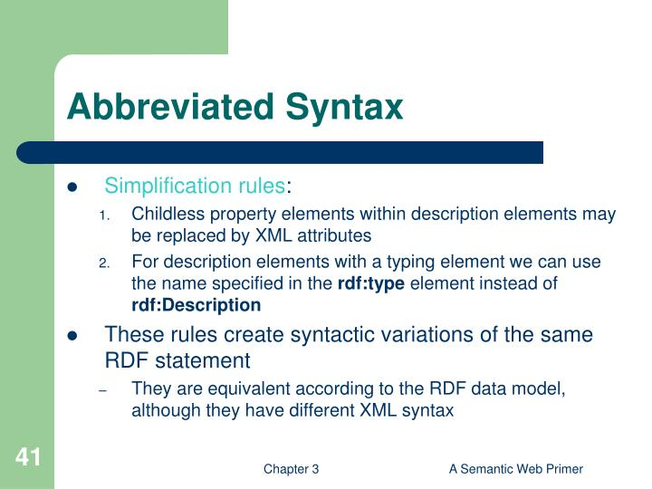 Abbreviated Syntax