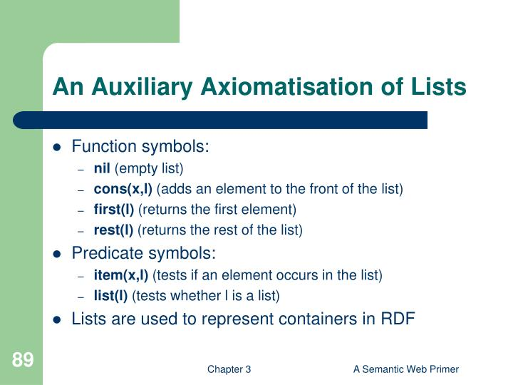An Auxiliary Axiomatisation of Lists
