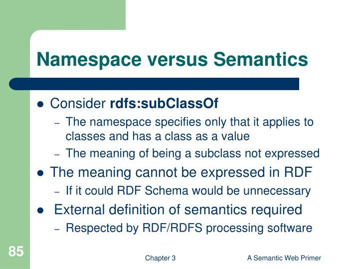 Namespace versus Semantics