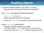 hashing objects