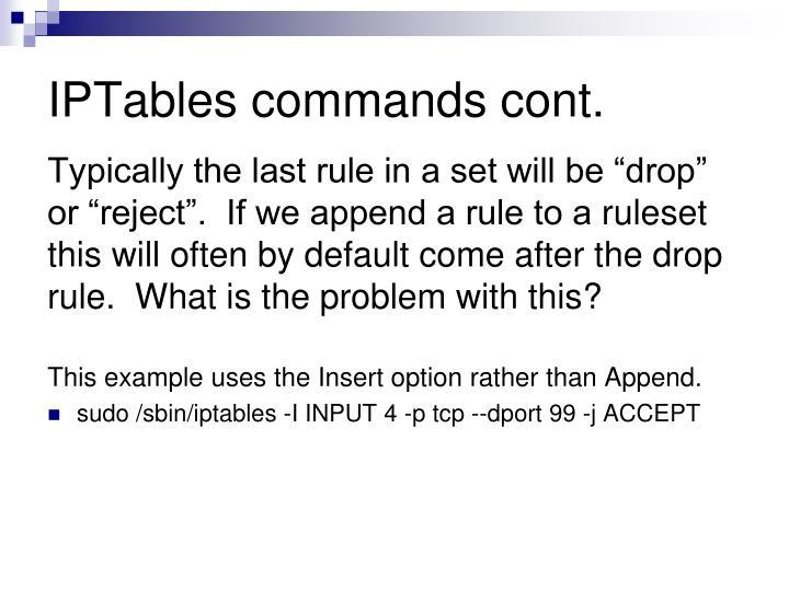 IPTables commands cont.