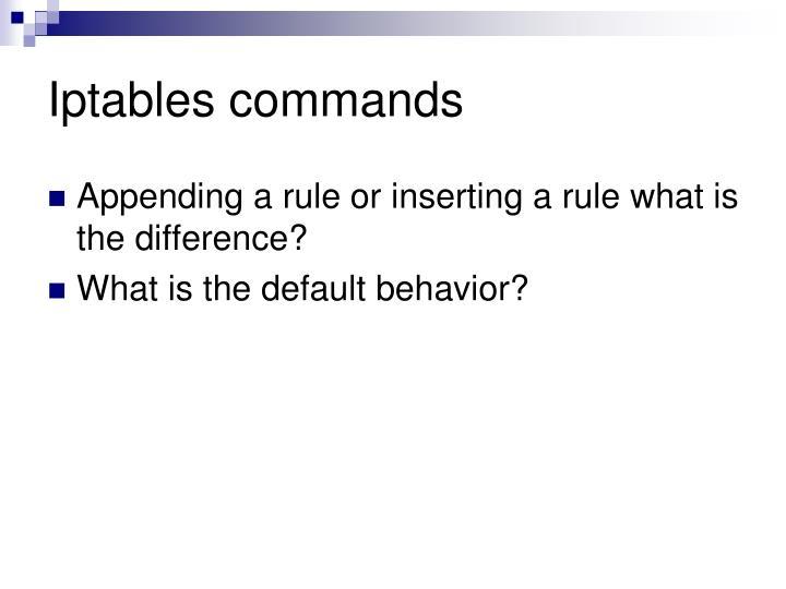Iptables commands