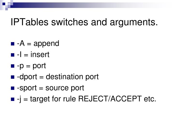 IPTables switches and arguments.