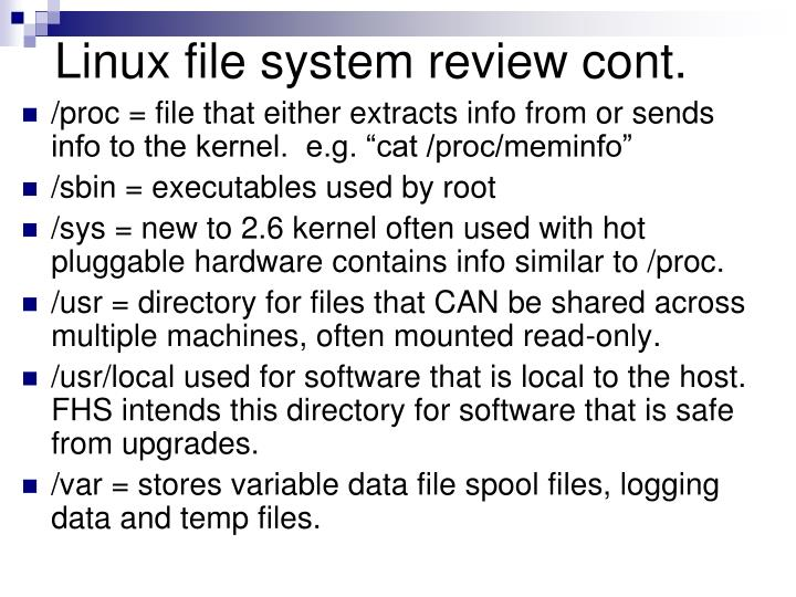 Linux file system review cont.