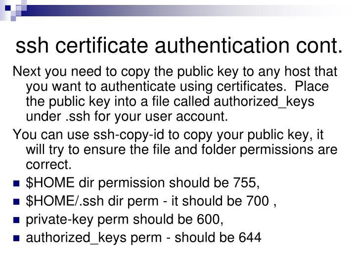 ssh certificate authentication cont.