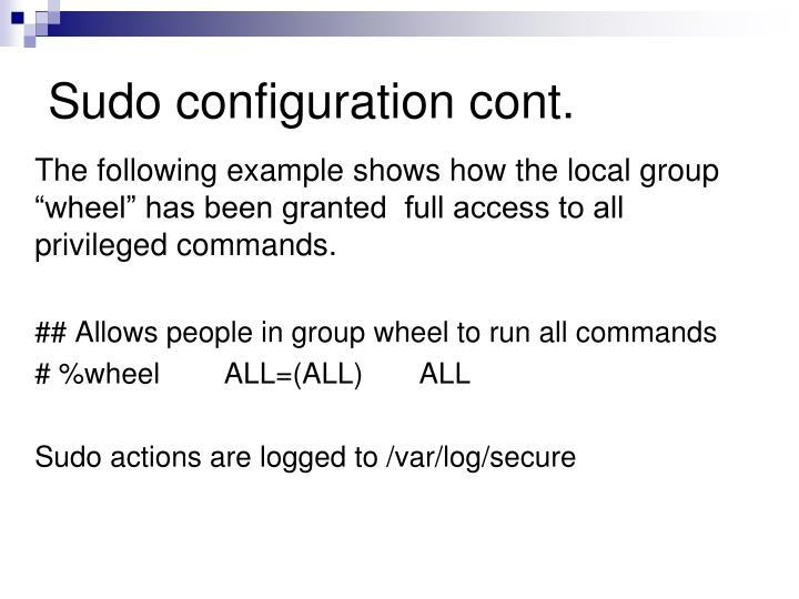 Sudo configuration cont.