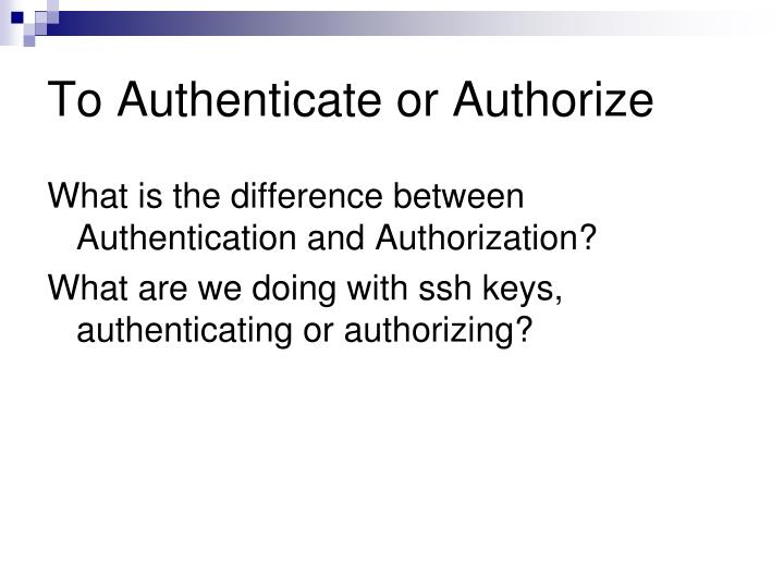 To Authenticate or Authorize