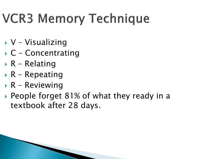 VCR3 Memory Technique