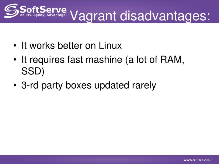 Vagrant disadvantages:
