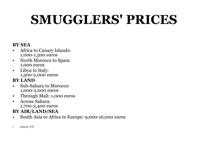 SMUGGLERS' PRICES