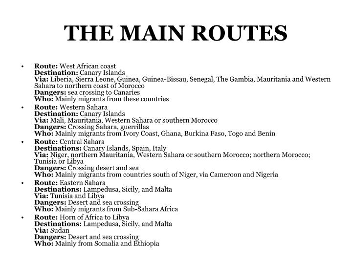 THE MAIN ROUTES