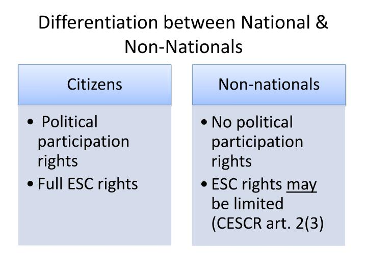 Differentiation between National & Non-Nationals