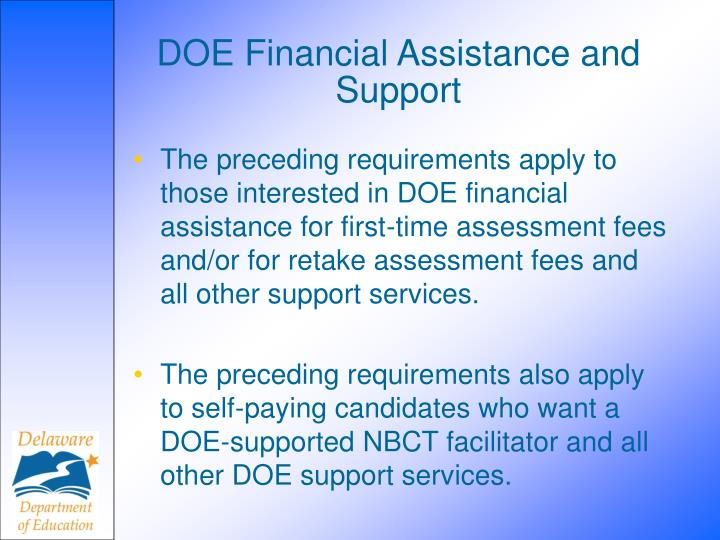 DOE Financial Assistance and Support