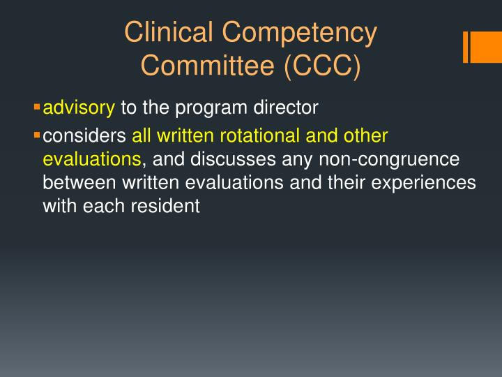 Clinical competency committee ccc1