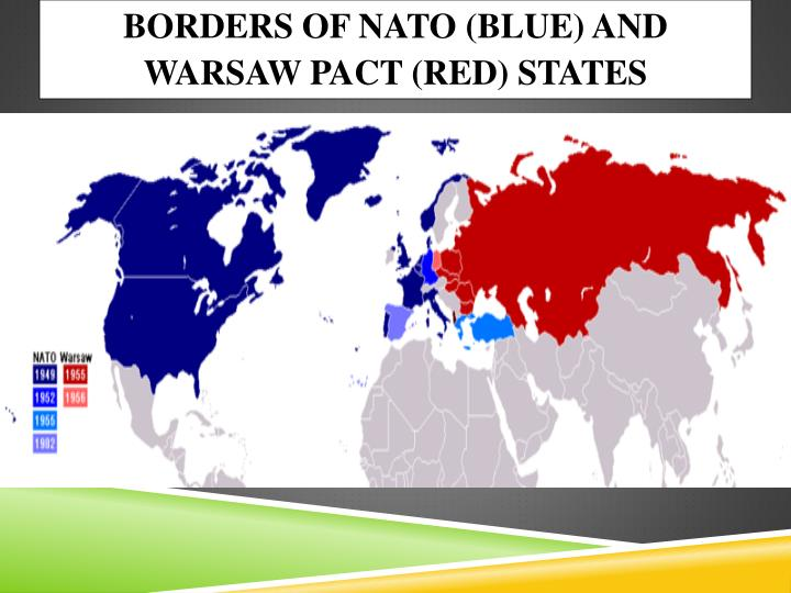 Borders of NATO (blue) and Warsaw Pact (red) states