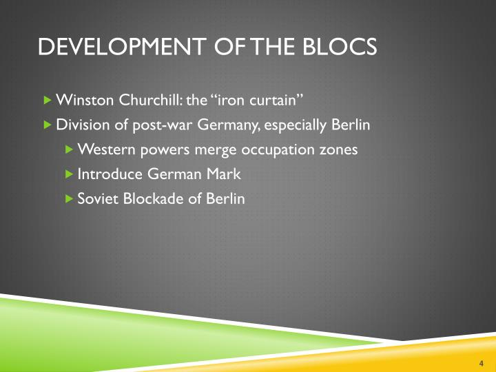 Development of the Blocs
