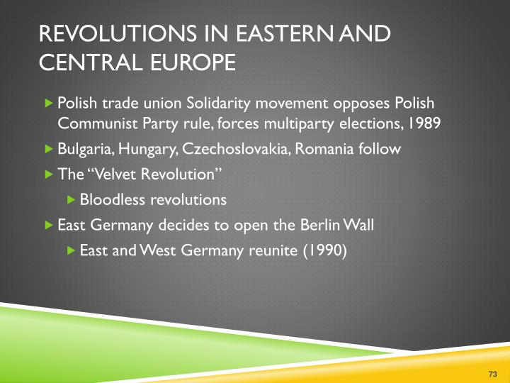 Revolutions in Eastern and Central Europe