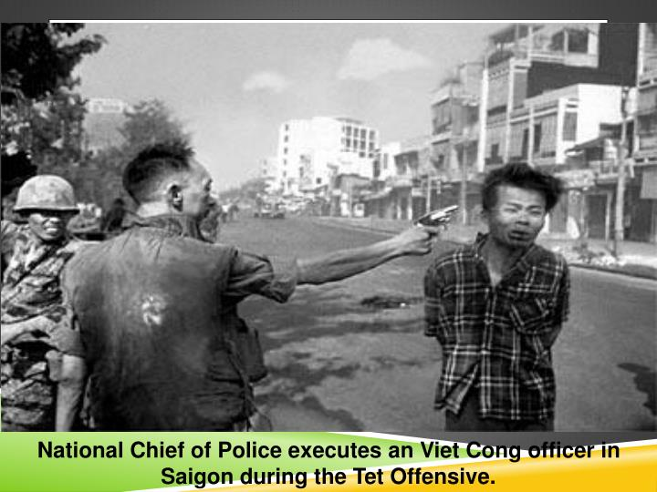 National Chief of Police executes an Viet Cong officer in Saigon during the Tet Offensive.