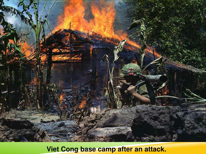 Viet Cong base camp after an attack.