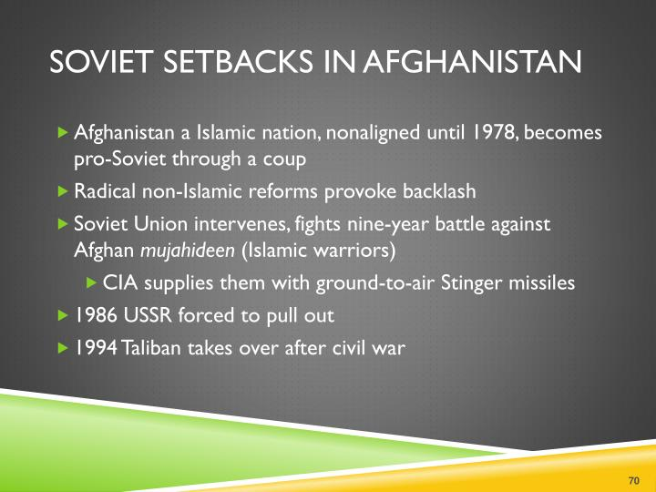 Soviet setbacks in Afghanistan