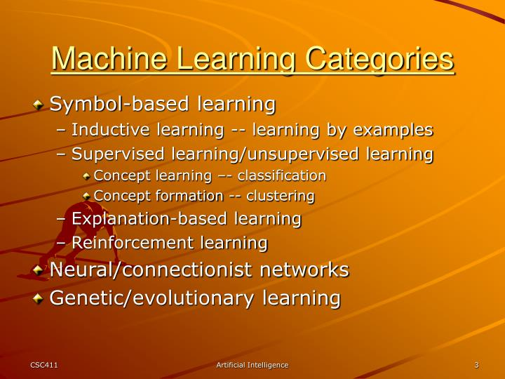 Machine learning categories