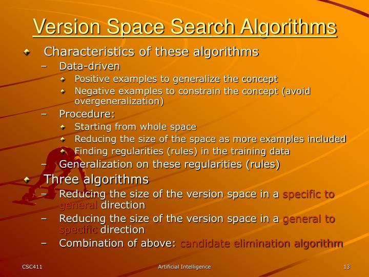 Version Space Search Algorithms