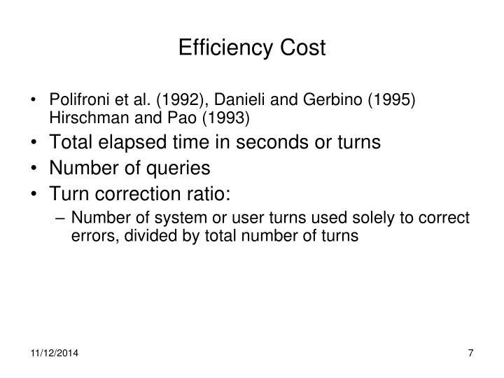 Efficiency Cost