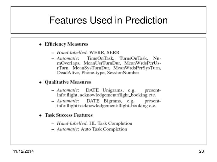 Features Used in Prediction